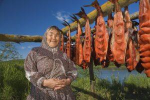 Design Pics inc Portrait of elder native Yupik woman near fish drying rack Kuskokwim River Akiachak Western Alaska Donna nativa del popolo Yupik accanto al pesce essiccato lungo il fiume Kuskokwim